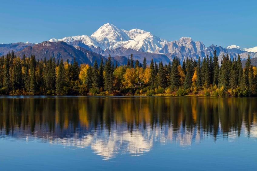 Byers Lake, Alaska, with a view of Denali
