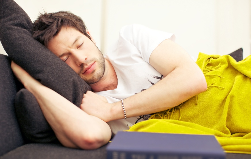 Man in a deep exhausted sleep