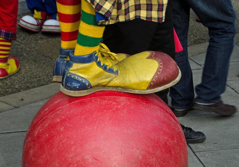clown wearing outsize