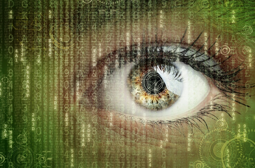 Womans eye with futuristic digital data