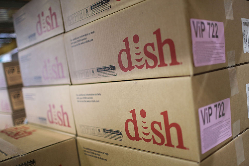 Dish Network equipment is seen in boxes
