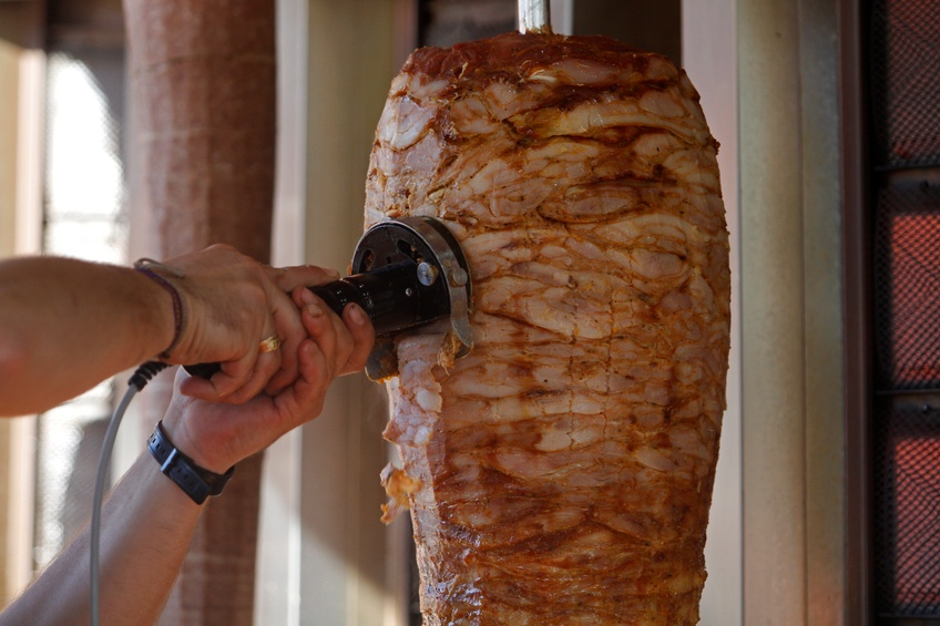 Turkish dish made of meat cooked on a vertical rotisserie