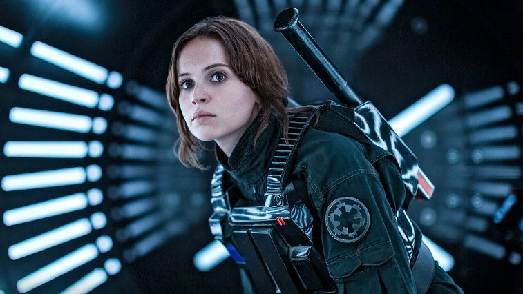 Felicity Jones crouches in armor in Rogue One | Lucasfilm