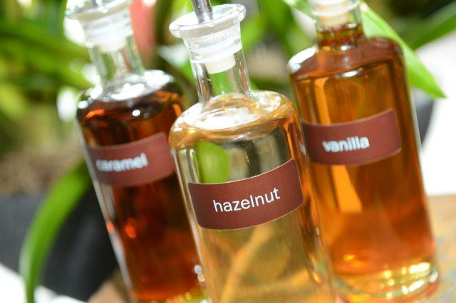hazelnut, vanilla and caramel coffee syrups