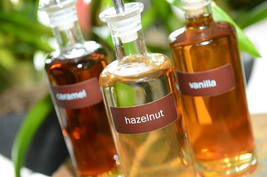 hazelnut, vanilla and caramel coffee syrups