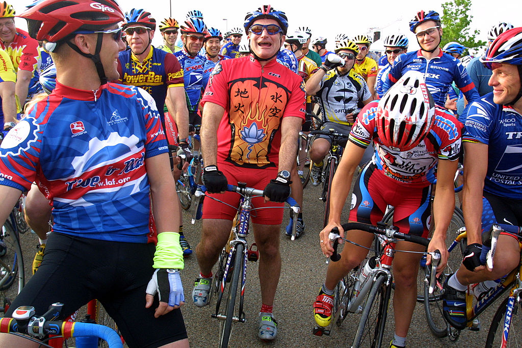 Robin Williams at a charity bike ride in red spandex