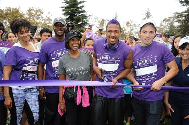 LOS ANGELES, CA - SEPTEMBER 20: (L-R) Actors Latarsha Rose, B.J. Britt, Margaret Avery, Nick Cannon, Ian Harding and NBC4 LA anchor Kathy Vara attend the Walk to End Lupus Now event at Exposition Park on September 20, 2014 in Los Angeles, California.