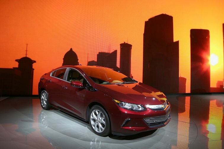 LOS ANGELES, CA - NOVEMBER 19: The Green Car of the Year award winner 2016 Chevrolet Volt is displayed at the 2015 Los Angeles Auto Show on November 19, 2015 in Los Angeles, California. The LA Auto Show was founded in 1907 and is the first major North American autoÊshow of the season each year. (Photo by David McNew/Getty Images)