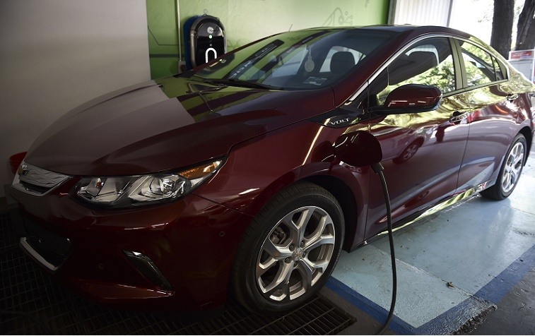 A Chevrolet Volt charges at a showroom in Mexico City