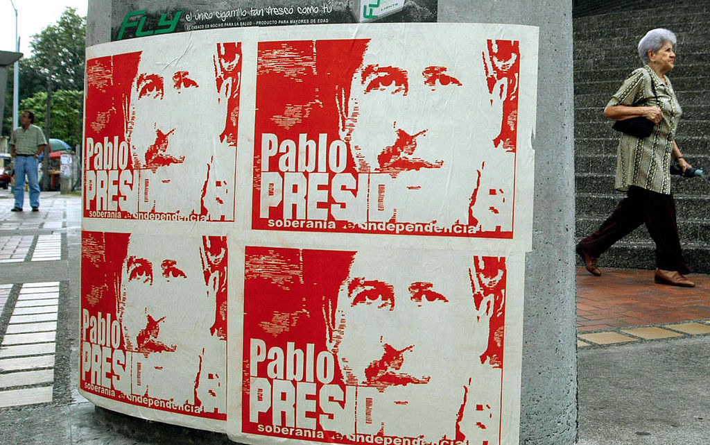 Posters with the portrait of late leader of Colombian drug cartel Pablo Escobar, | STR/AFP/Getty Images