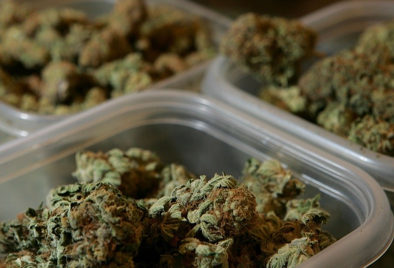 Containers of medical marijuana are seen at the Alternative Herbal Health Services cannabis dispensary in San Francisco