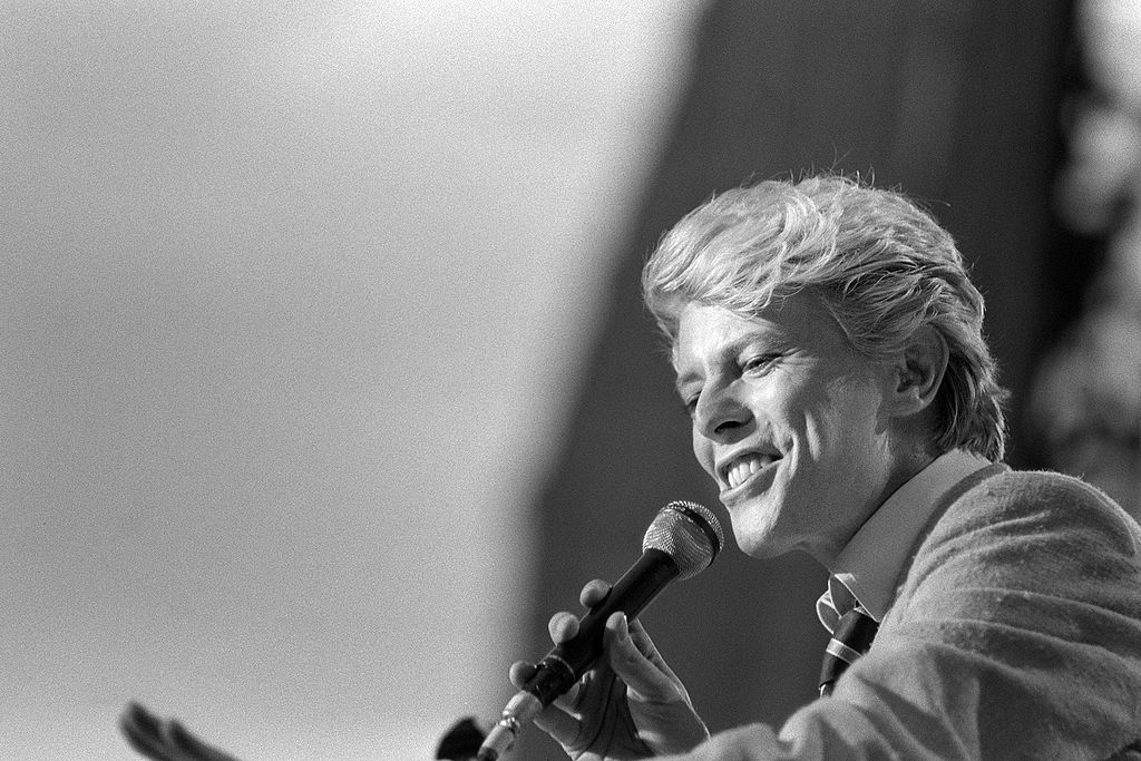 David Bowie performs on stage at the Auteuil's Hippodrome
