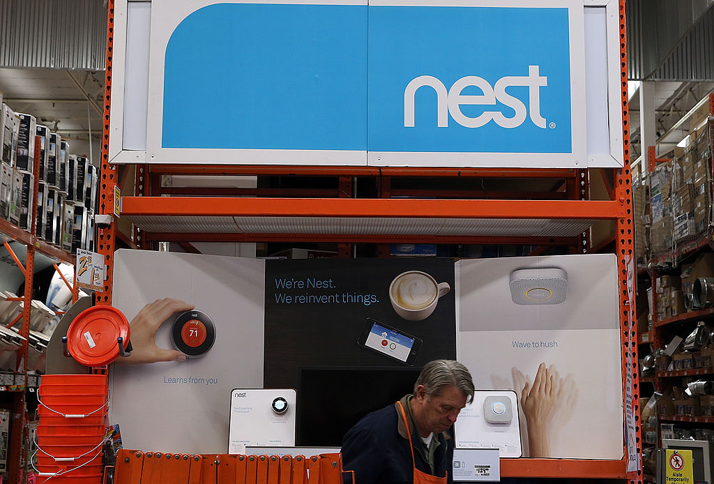 Nest products are displayed at a Home Depot store