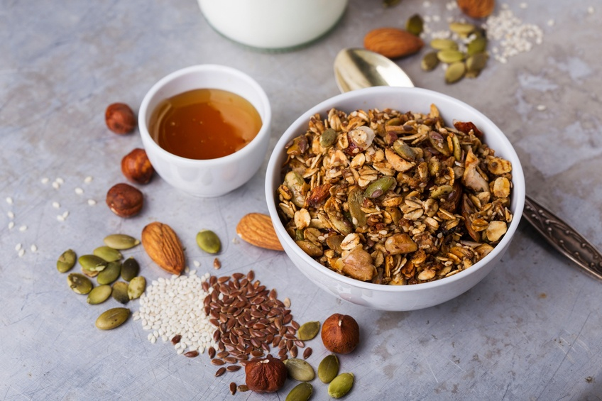 granola with variety of seeds and nuts