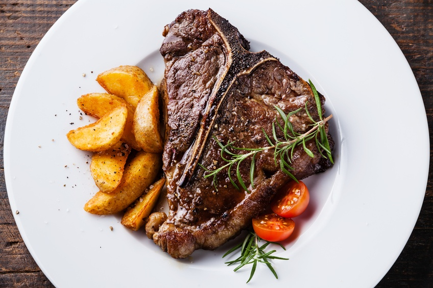 Grilled T-Bone Steak with roasted potato