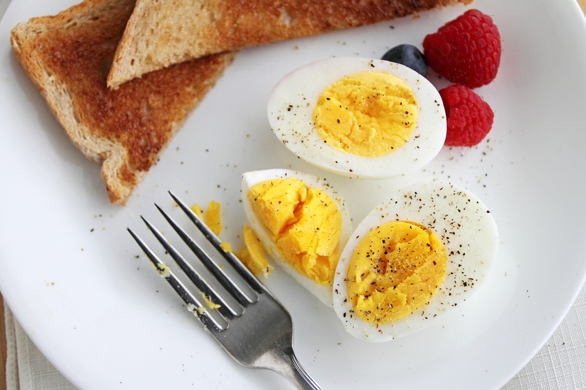 Hard boiled egg breakfast