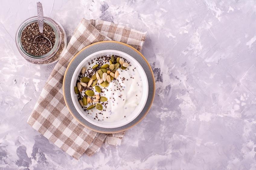 Milk chia pudding on the basis of natural yogurt