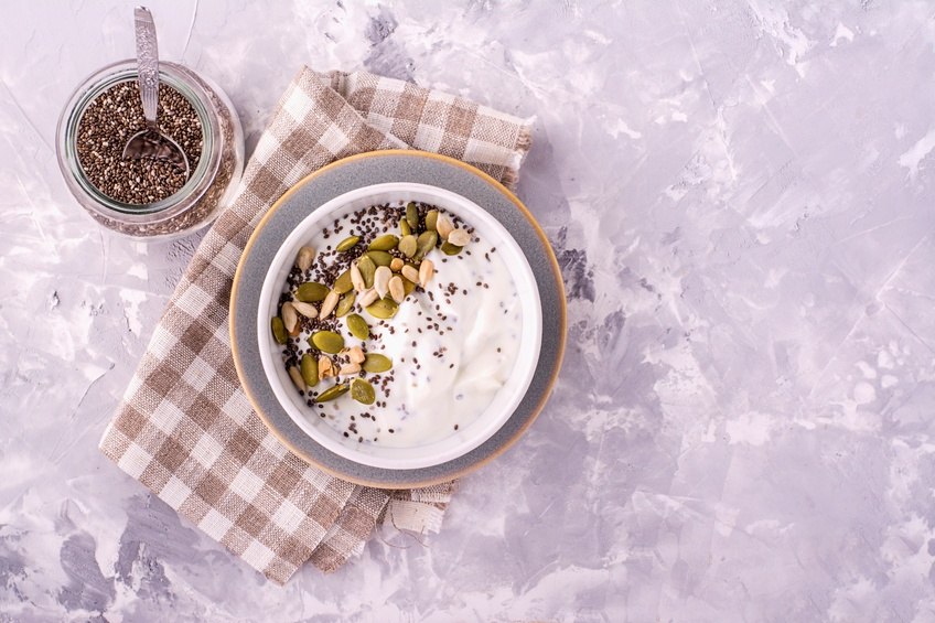 Milk chia pudding on the basis of natural yogurt