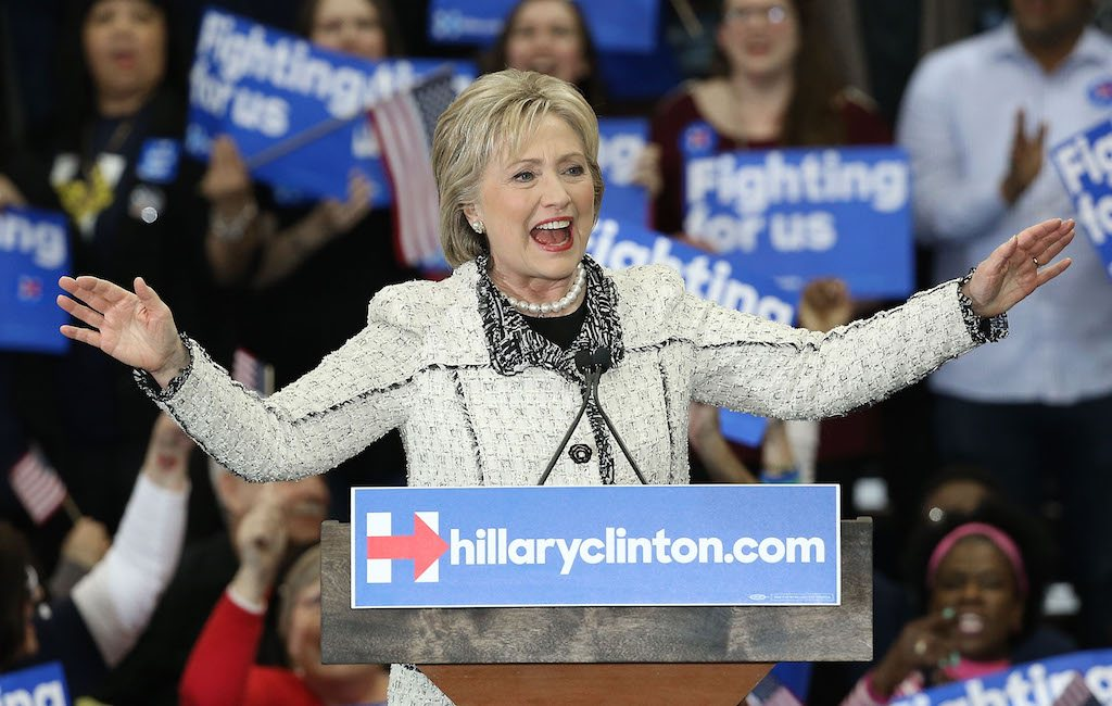 Hillary Clinton speaking at a rally