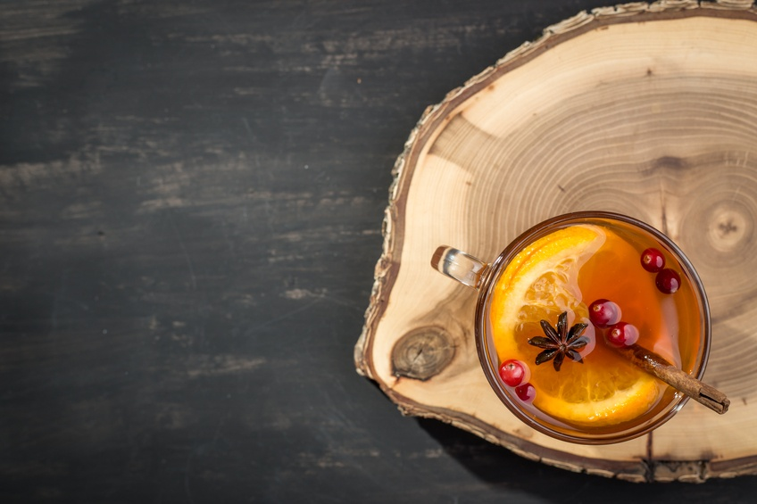 Hot tea with orange and cranberry