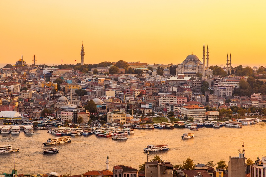 Istanbul, Turkey, View on Golden Horn bay from Galata Tower.
