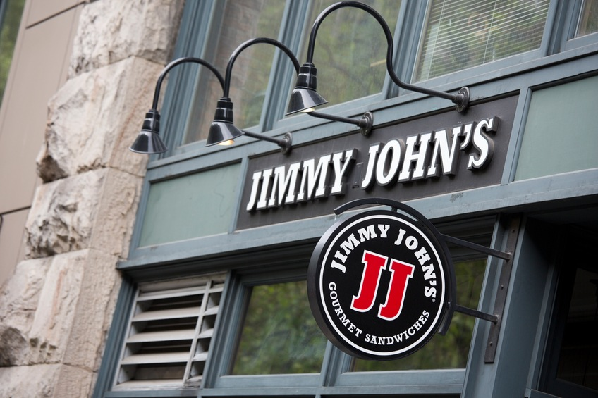 The logo and sign of a Jimmy John's Gourmet Sandwich Shop