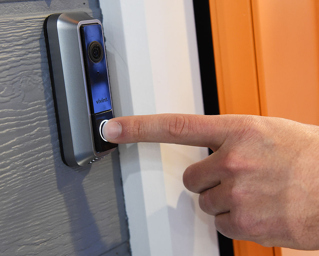The Vivint Doorbell Camera is displayed at CES 2016