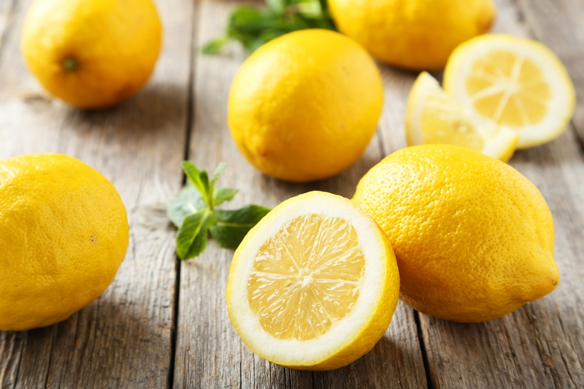Lemons on grey wooden