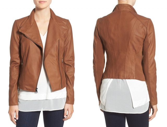 Marc New York stand collar leather jacket