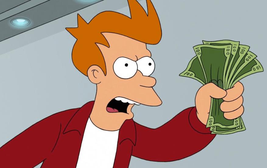 Fry holding money from Futurama