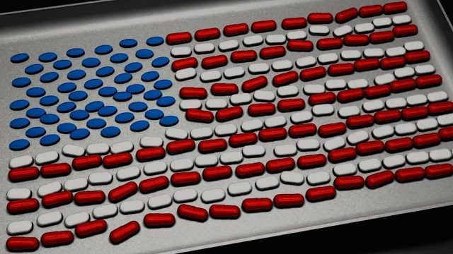 American flag made of pills