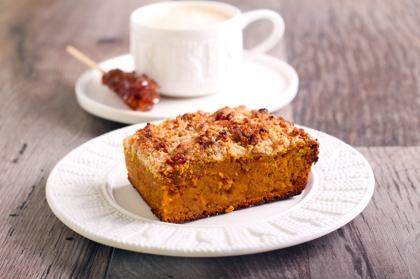 Pumpkin streusel cake slice on plate