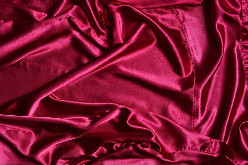 Bright rippled pink satin