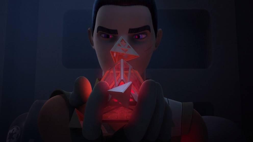Ezra Bridger with the Sith holocron