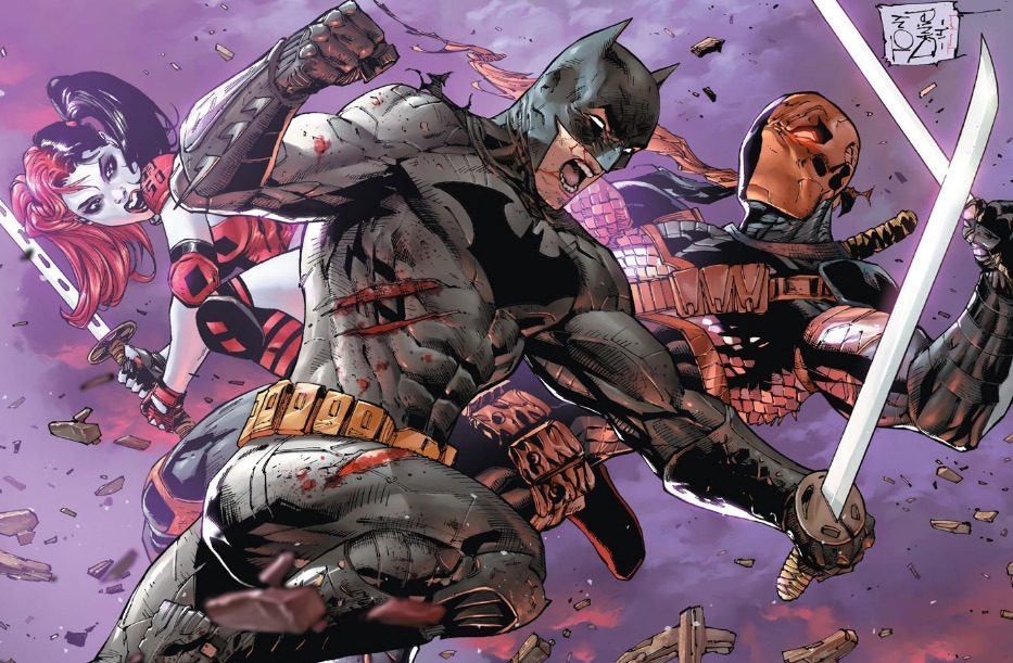 Batman fighting Deathstroke in Battle Royale