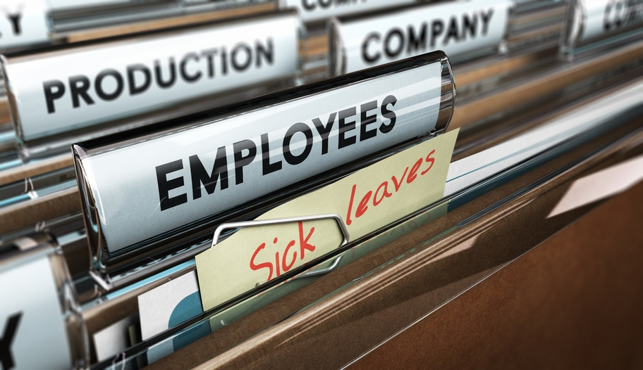 sick days, file tab with the word employees plus a note with the text sick leaves