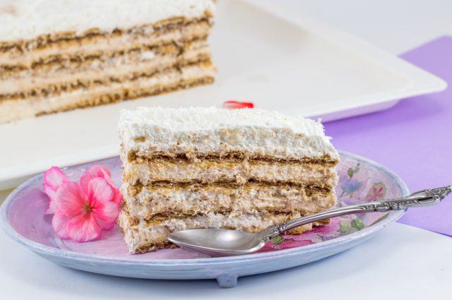 Slice of homemade layered cake