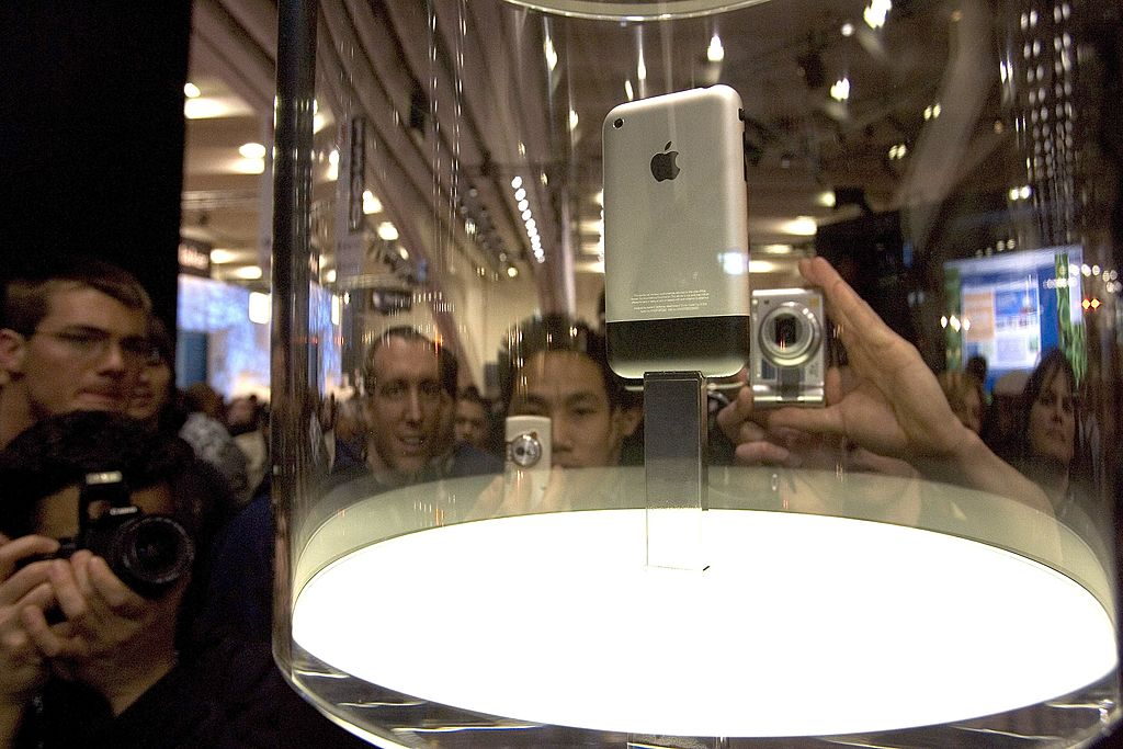 Back of the Apple iPhone is seen as the device is displayed at Macworld