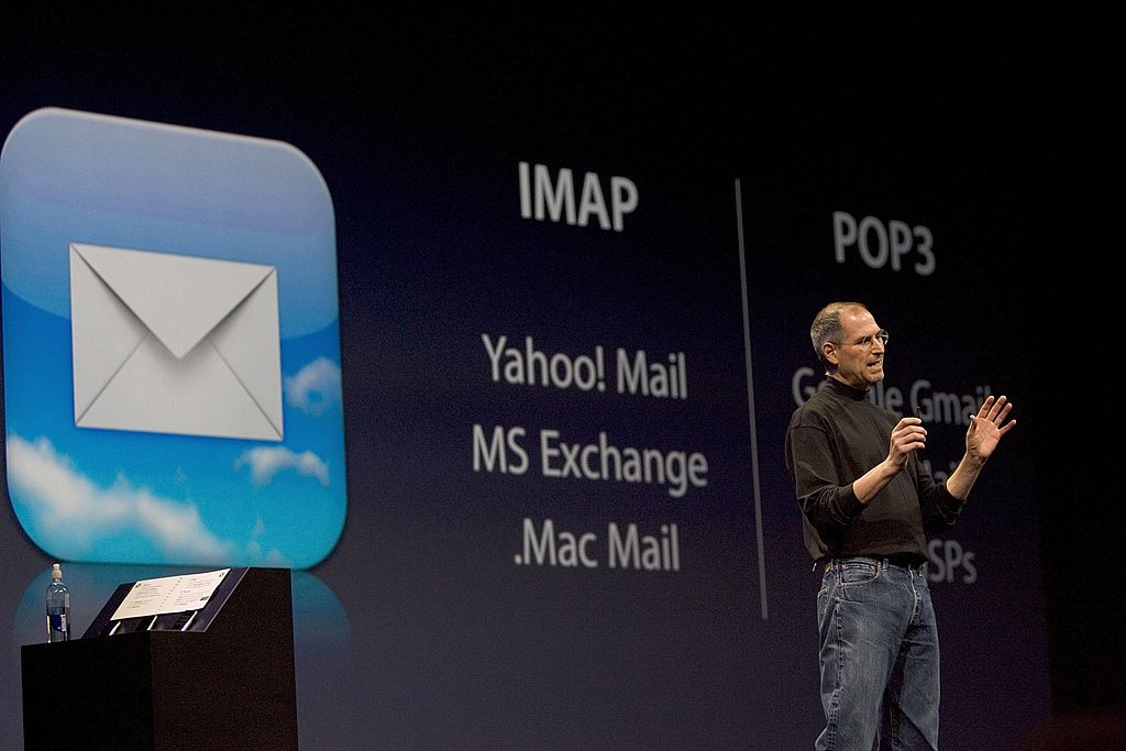 Apple CEO Steve Jobs explains the email features of the first iPhone