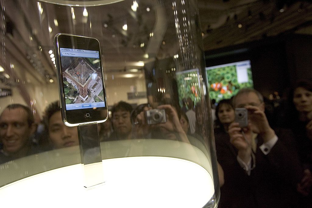 The Apple iPhone 1 is displayed at Macworld