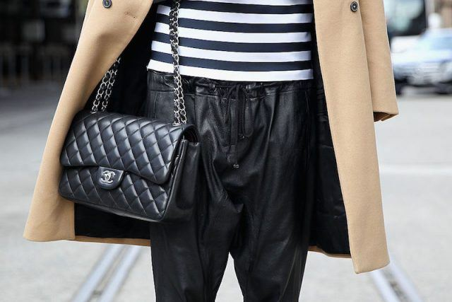 Tash Sefton wearing Bassike shirt and pants, Hermes clutch, Chanel handbag, Zara Jacket and Isabel Marant shoes at Mercedes-Benz Fashion Week Australia 2014 at Carriageworks on April 7, 2014 in Sydney, Australia.