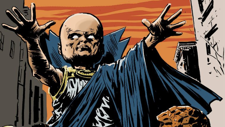 A graphic of The Watcher from Marvel Comics
