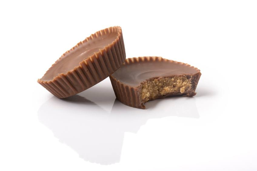 Two chocolate peanut butter cups
