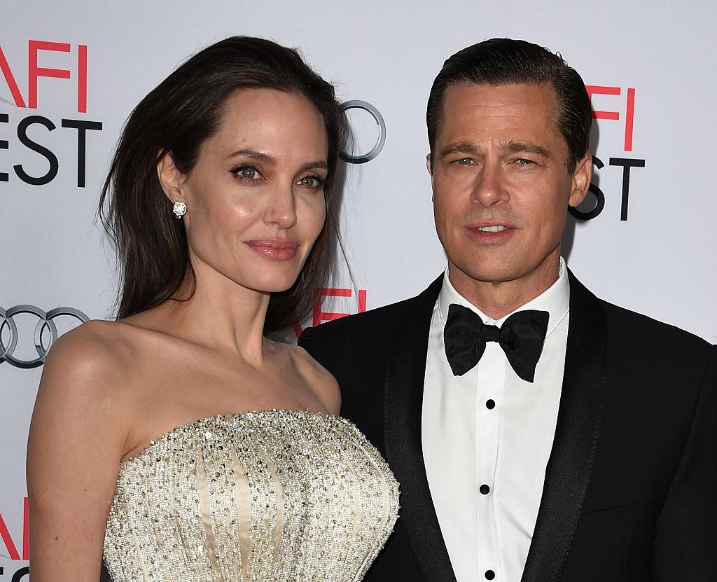 Angelina Jolie Pitt (L) and actor-producer Brad Pitt