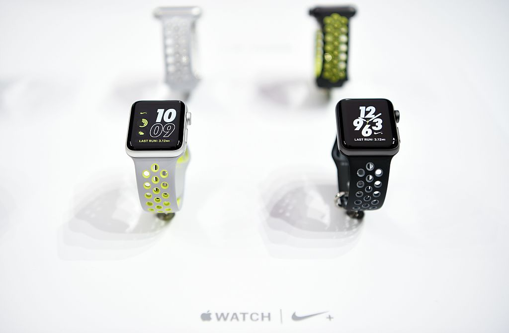 Apple Watch Nike+ watches are seen on display at the launch event for the iPhone 7 and Apple Watch 2