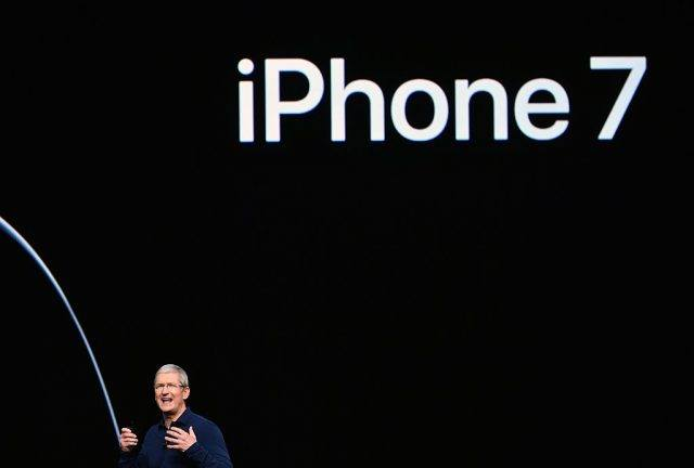 Apple CEO Tim Cook introduces the new iPhone 7 during an event