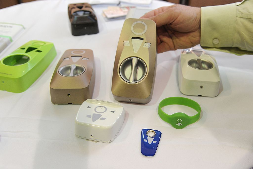 OKIDOKEY smart locks and smart keys are displayed at CES