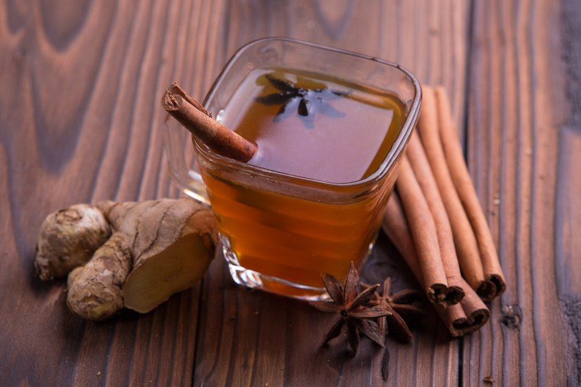 tea with cinnamon, star anise, and ginger