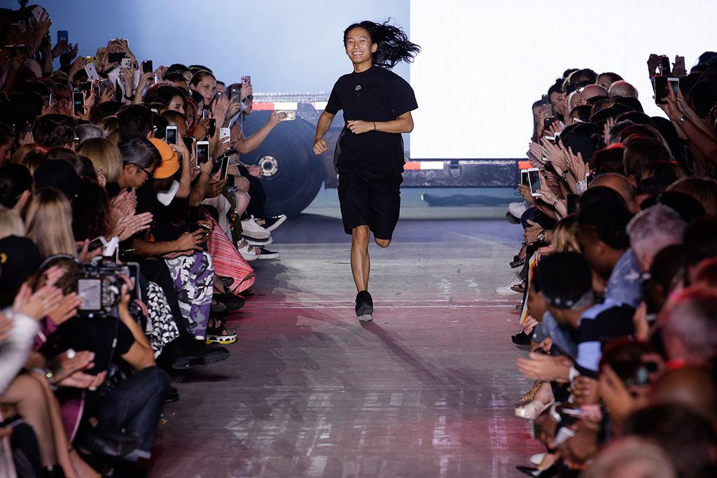 Alexander Wang runs down the runway