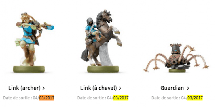 Nintendo France release dates for Amiibos